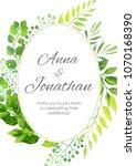 wedding invitation with green... | Shutterstock .eps vector #1070168390