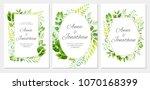 wedding invitation with green... | Shutterstock .eps vector #1070168399