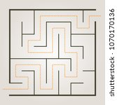 simple maze with path solution | Shutterstock .eps vector #1070170136