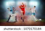 collage of team sport players... | Shutterstock . vector #1070170184