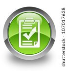 checklist icon on glossy green... | Shutterstock . vector #107017628