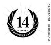 14 years anniversary. elegant... | Shutterstock .eps vector #1070180750