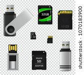 usb flash drives and memory... | Shutterstock . vector #1070183900