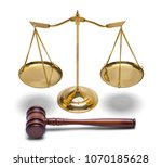 brass law scale and wood gavel... | Shutterstock . vector #1070185628