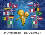 gold figure football player... | Shutterstock .eps vector #1070189684