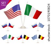 set   table stand with flags.... | Shutterstock . vector #1070190824