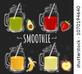 set smoothie or milkshake in... | Shutterstock .eps vector #1070194640