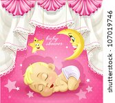 Stock vector pink baby shower card with sweet sleeping newborn child 107019746