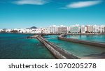 beautiful city beach view on a... | Shutterstock . vector #1070205278