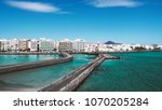beautiful city beach view on a... | Shutterstock . vector #1070205284