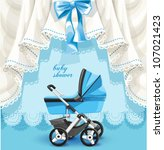 Stock vector blue baby shower card with baby carriage 107021423