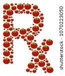 rx symbol mosaic of tomato... | Shutterstock .eps vector #1070223050