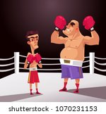 big and small boxer fighter man ... | Shutterstock .eps vector #1070231153