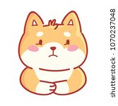 shiba inu  sad  depressed  dull ... | Shutterstock .eps vector #1070237048