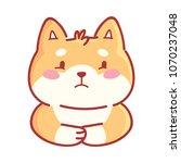 shiba inu  sad  depressed  dull ... | Shutterstock .eps vector #1070237048