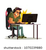 angry mad gamer call center... | Shutterstock .eps vector #1070239880