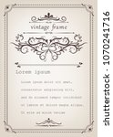 vintage frame with beautiful... | Shutterstock .eps vector #1070241716