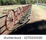 quirky farm fence made of rust... | Shutterstock . vector #1070243330