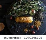 oil bottle. some spices. honey... | Shutterstock . vector #1070246303