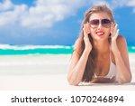 portrait of long haired girl in ... | Shutterstock . vector #1070246894