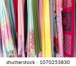 colorful scarves at a market in ... | Shutterstock . vector #1070253830