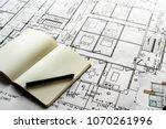 closeup of house plan blueprint | Shutterstock . vector #1070261996