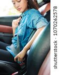 woman sitting on car seat and... | Shutterstock . vector #1070262578