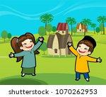 boy and girl happy standing... | Shutterstock .eps vector #1070262953