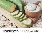 raw and dried green bananas ...   Shutterstock . vector #1070262980
