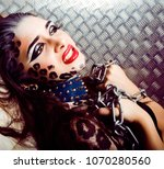 young sexy woman with leopard... | Shutterstock . vector #1070280560