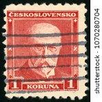 Small photo of CZECHOSLOVAKIA – CIRCA 1930: stamp printed in Czech Ceskoslovensko shows portrait of first president Thomas Garrigue Masaryk (politician, sociologist, philosopher), Scott 170 A37 1k red, circa 1930