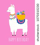 llama illustration  cute hand... | Shutterstock .eps vector #1070310230