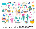 llama illustration  cute hand... | Shutterstock .eps vector #1070310578