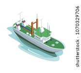 isometric view of big green and ... | Shutterstock .eps vector #1070329706
