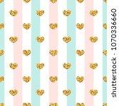 gold heart seamless pattern.... | Shutterstock .eps vector #1070336660
