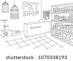 Stock vector pet shop store graphic interior black white sketch illustration vector 1070338193