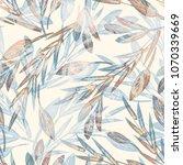 artistic leaves seamless... | Shutterstock . vector #1070339669