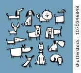 funny dogs collection  sketch... | Shutterstock .eps vector #1070346848
