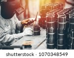 industrial worker in... | Shutterstock . vector #1070348549