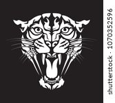 leopard angry face tattoo.... | Shutterstock .eps vector #1070352596