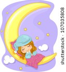 Illustration Featuring a Girl Sleeping Soundly - stock vector
