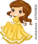 Illustration Featuring a Girl Dressed as a Princess - stock vector