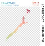 palawan polygonal  mosaic style ... | Shutterstock .eps vector #1070358629