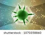 3d rendering viruses in... | Shutterstock . vector #1070358860
