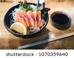 japanese food   raw salmon ... | Shutterstock . vector #1070359640