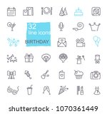 happy birthday party line icon... | Shutterstock .eps vector #1070361449