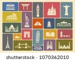 world landmark icon set. flat... | Shutterstock .eps vector #1070362010