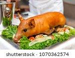 appetizing roasted suckling... | Shutterstock . vector #1070362574