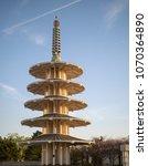 Full vertical view of San Francisco Peace Pagoda in Japantown neighborhood