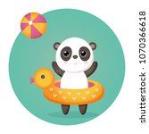panda in the inflatable ball... | Shutterstock .eps vector #1070366618